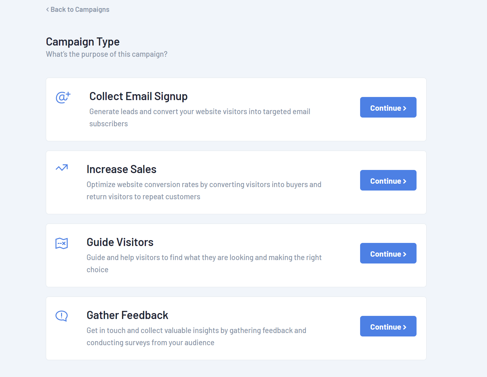 Popup campaign types