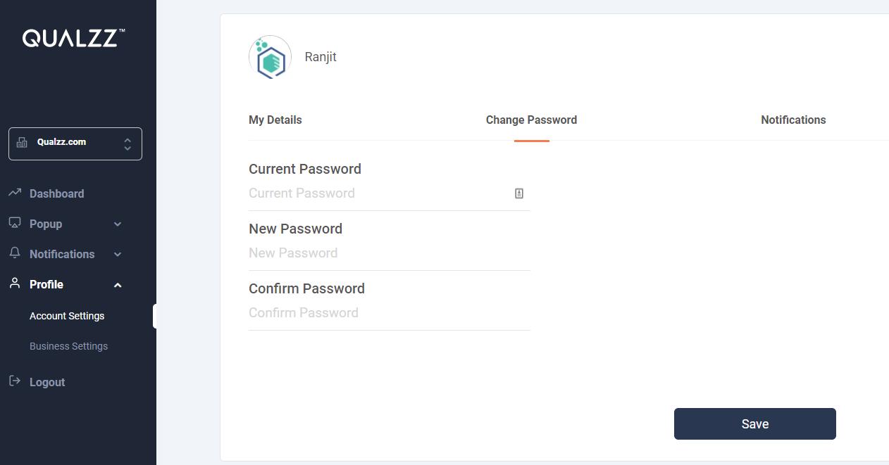 Qualzz password change