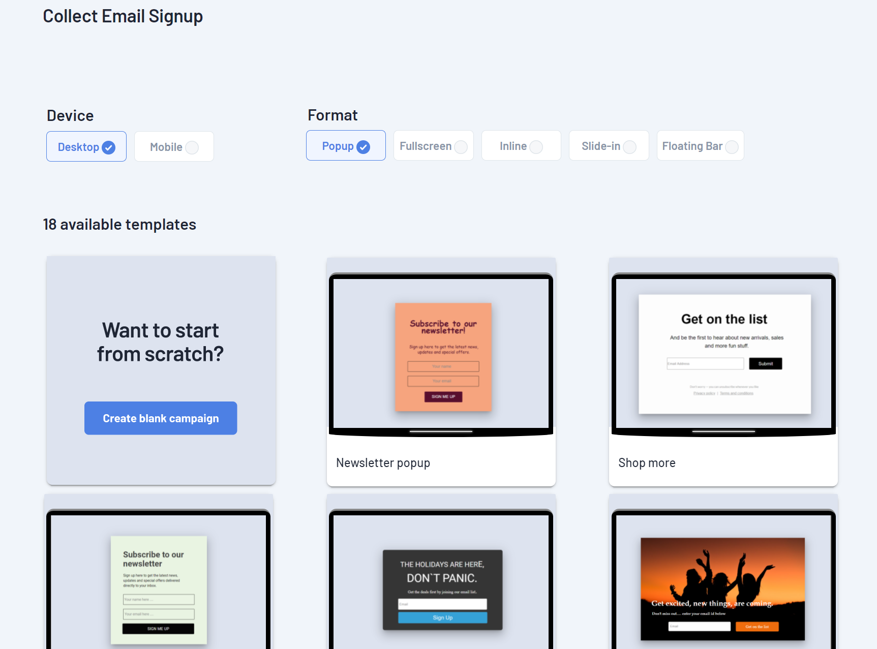 Email signup templates