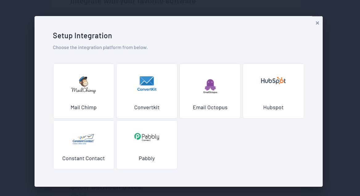 Qualzz popup integrations