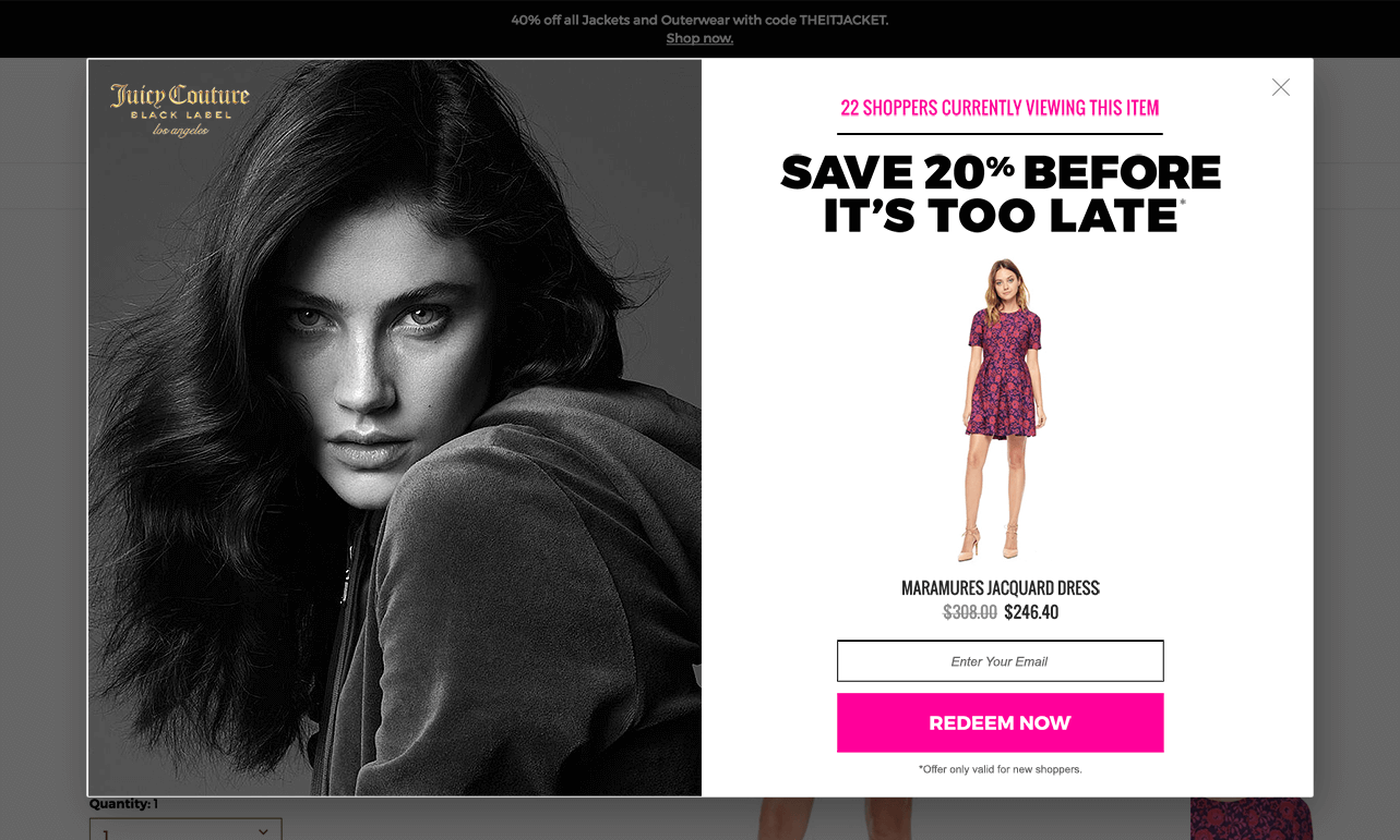 Brand loyalty pop-up example