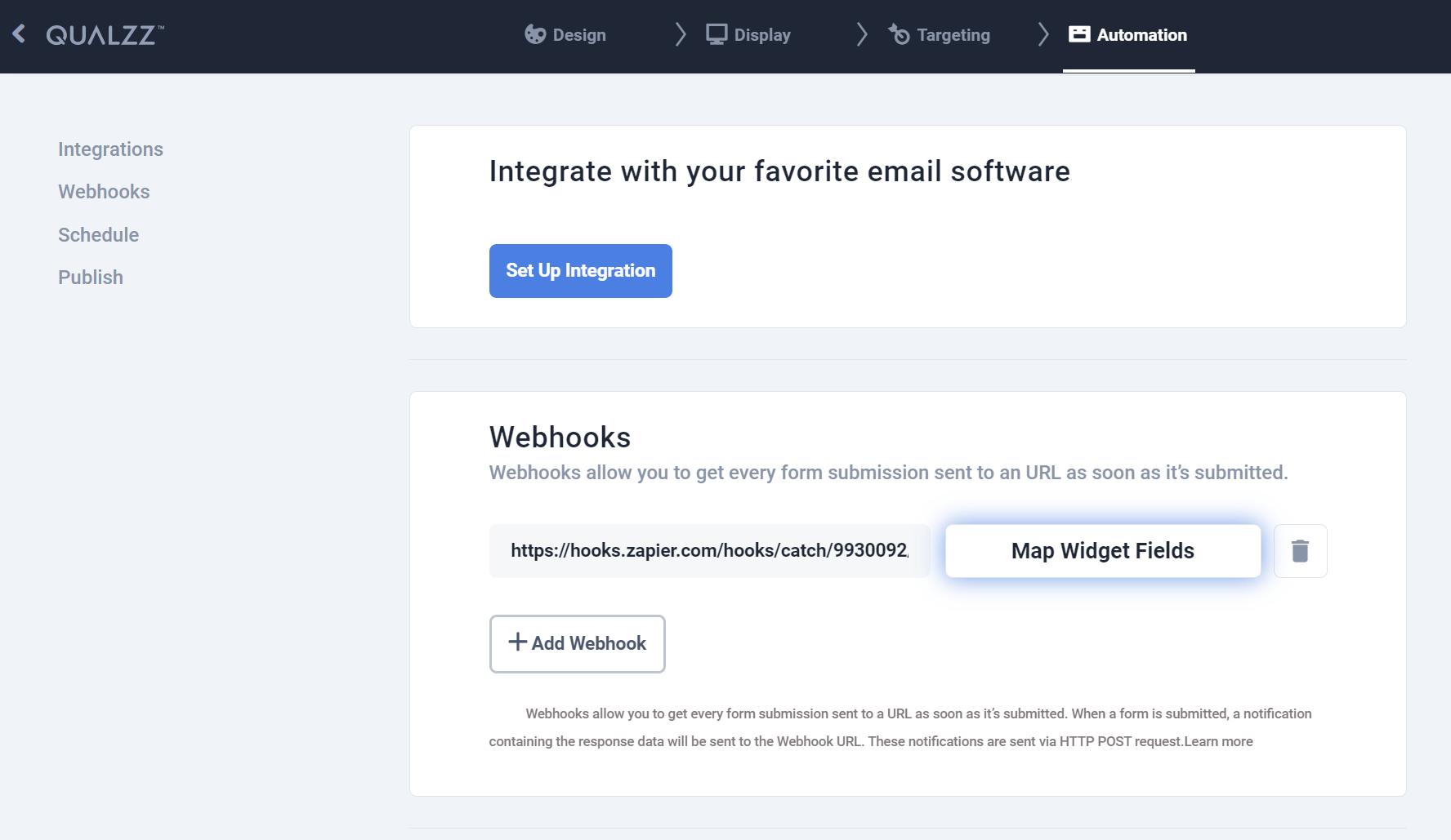 Zapier Webhook From Qualzz