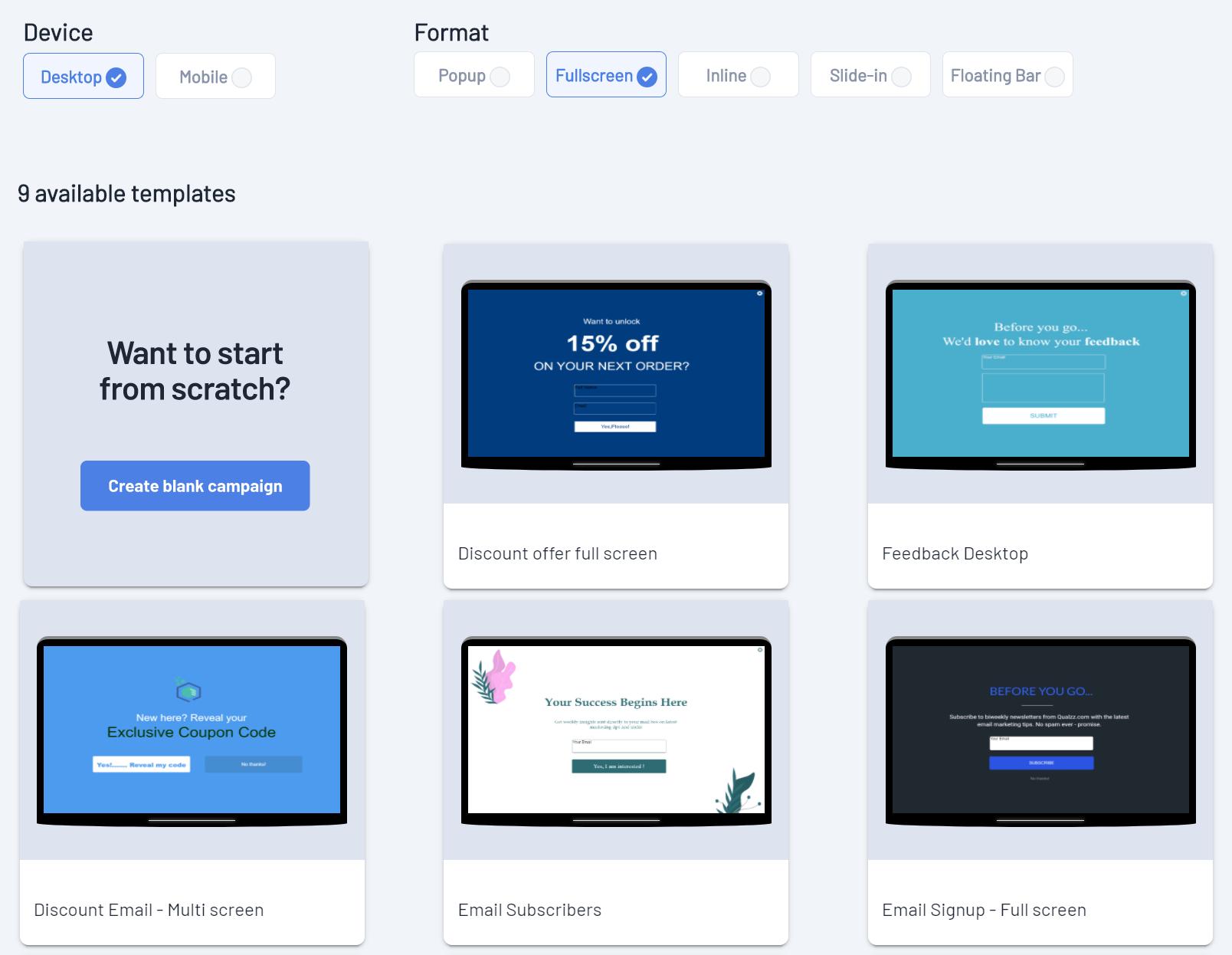Select popup templates