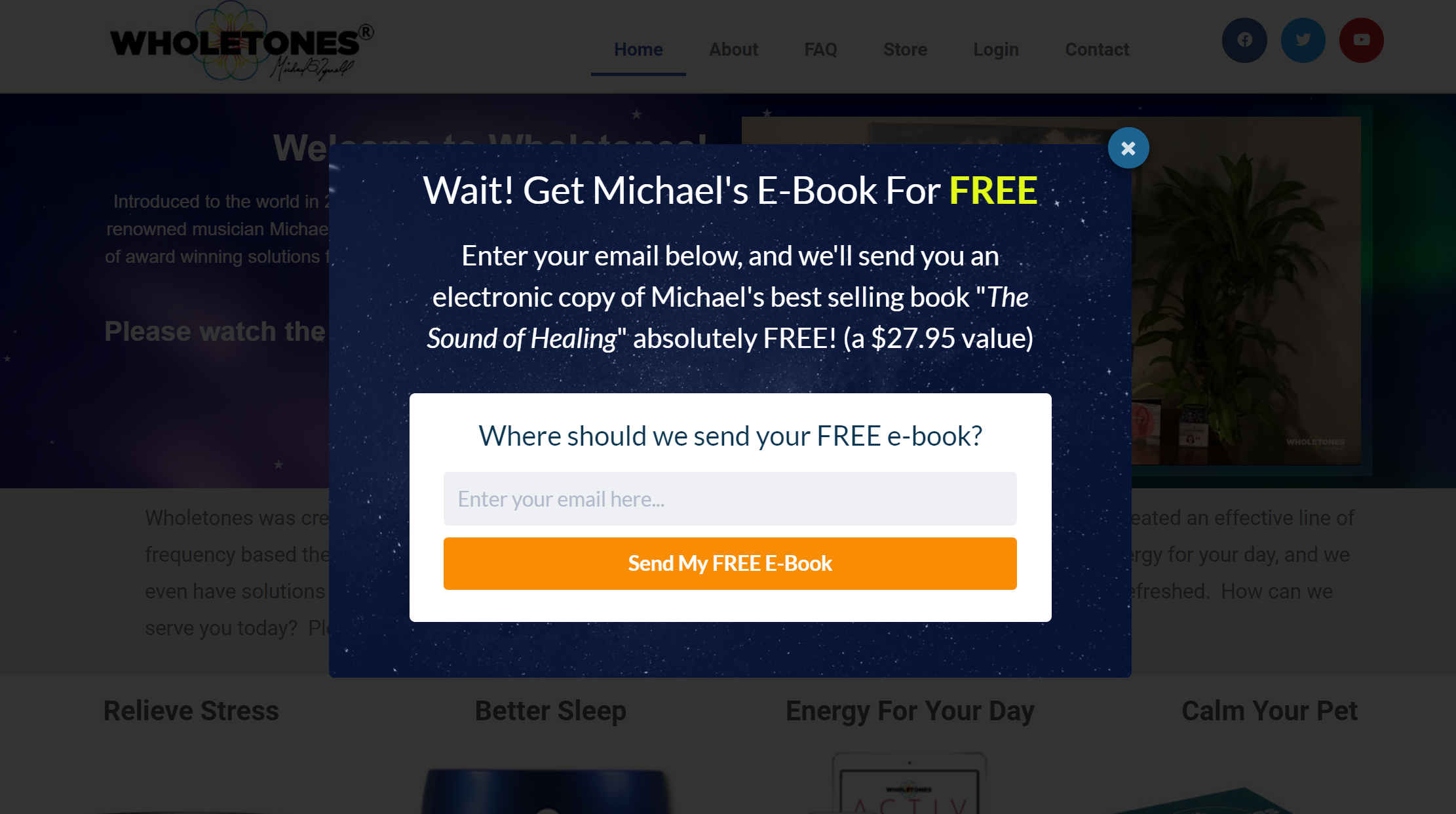 Exit-intent popup offering free ebook
