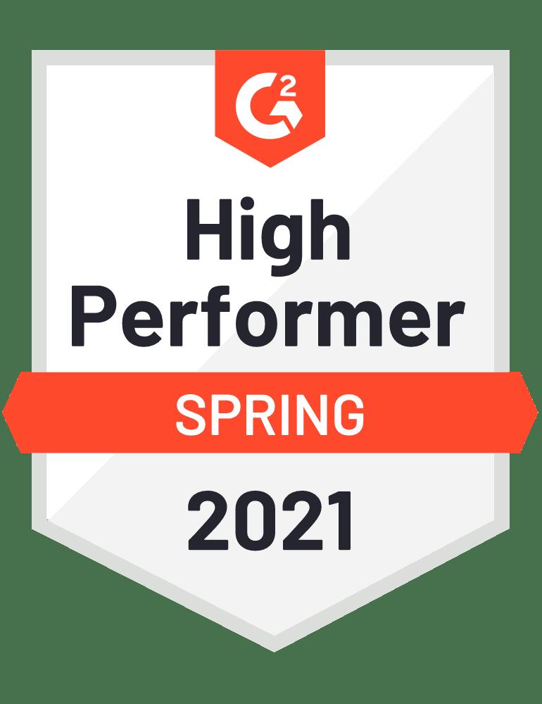 Pop-up high performer Spring 2021 G2 awards