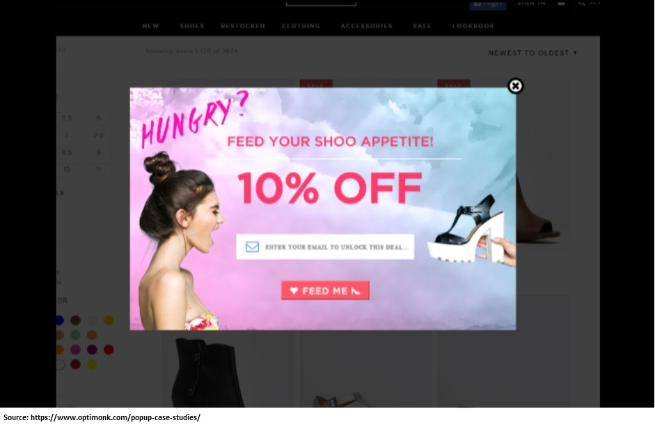 Promo popup to capture abondoning visitors