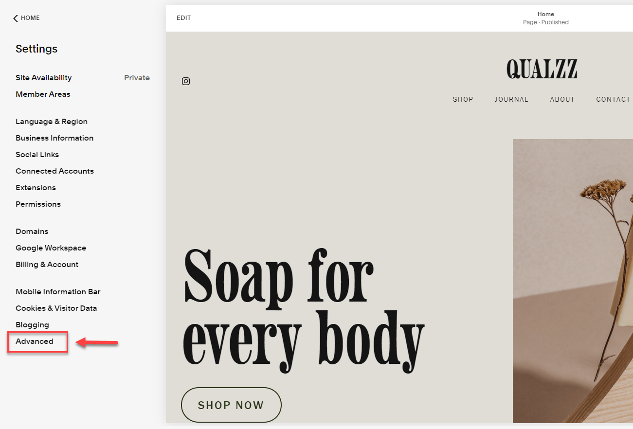 Full screen popup to Squarespace website