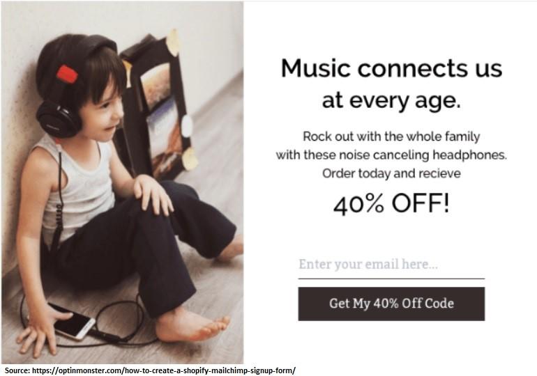 Mailchimp discount code popup