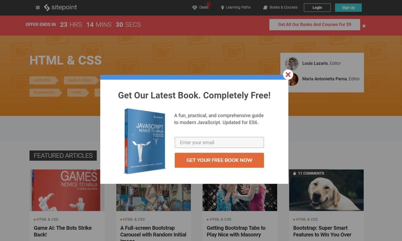 Free ebook popup example - mailchimp