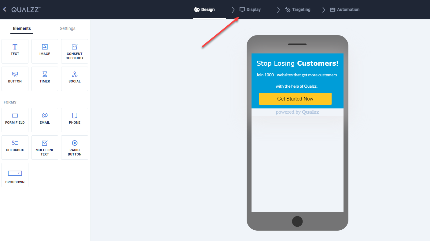 Mobile exitintent popup